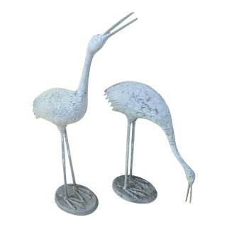 1970s Vintage Asymmetrical Crane Garden Statues - a Pair For Sale