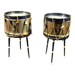 Pair of French Military Drum Tables, Marked E. Chantenay, Paris 1932