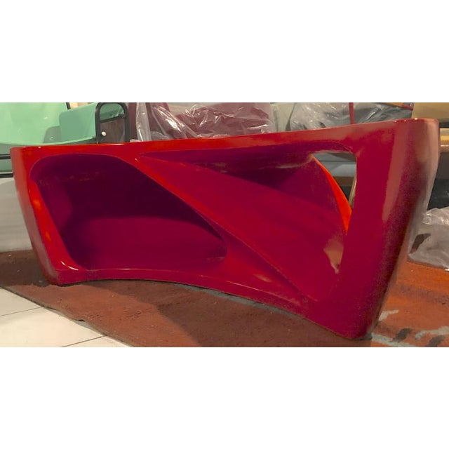 1980s Boomerang Shaped Red Abstract Coffee Table For Sale - Image 5 of 7
