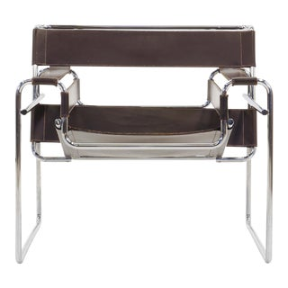 Vintage Original Marcel Breuer for Knoll Gavina Wassily Brown Leather Chair For Sale