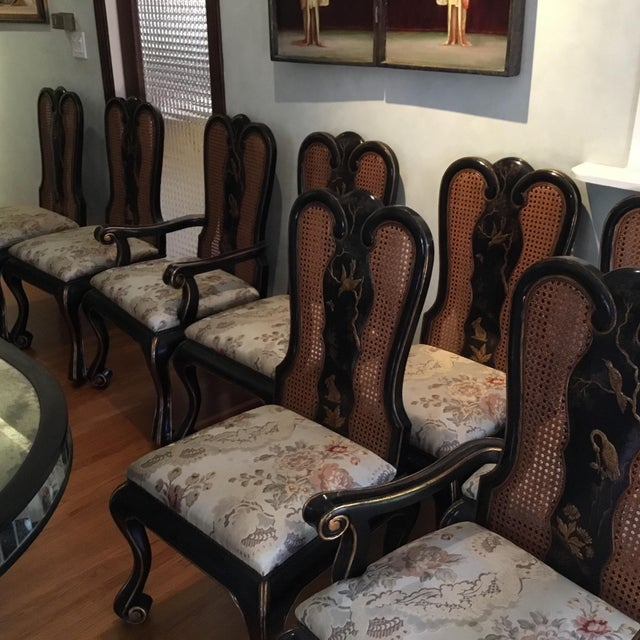 2000 - 2009 Vintage Chinoiserie Dining Chairs - Set of 10 For Sale - Image 5 of 12