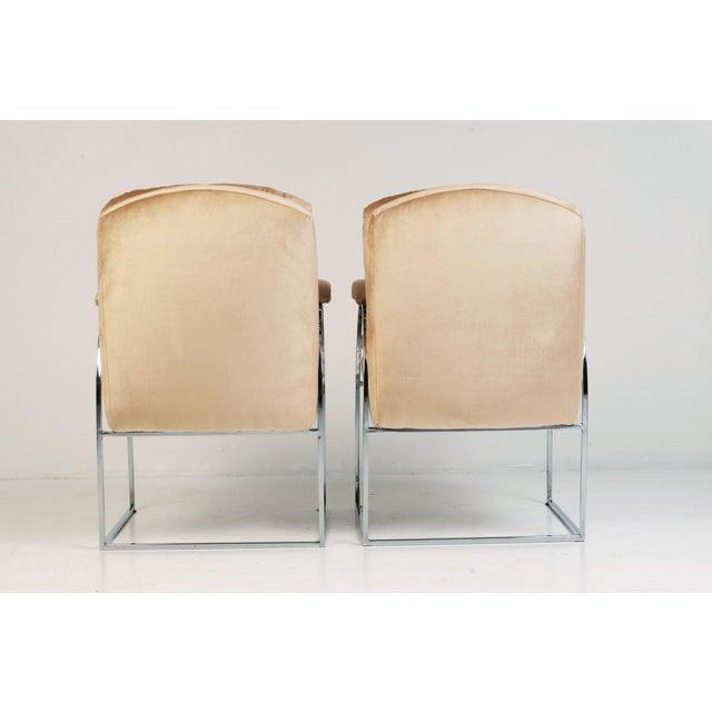 Milo Baughman 20th Century Milo Baughman Style Blush Velvet Chrome Chairs - a Pair For Sale - Image 4 of 7