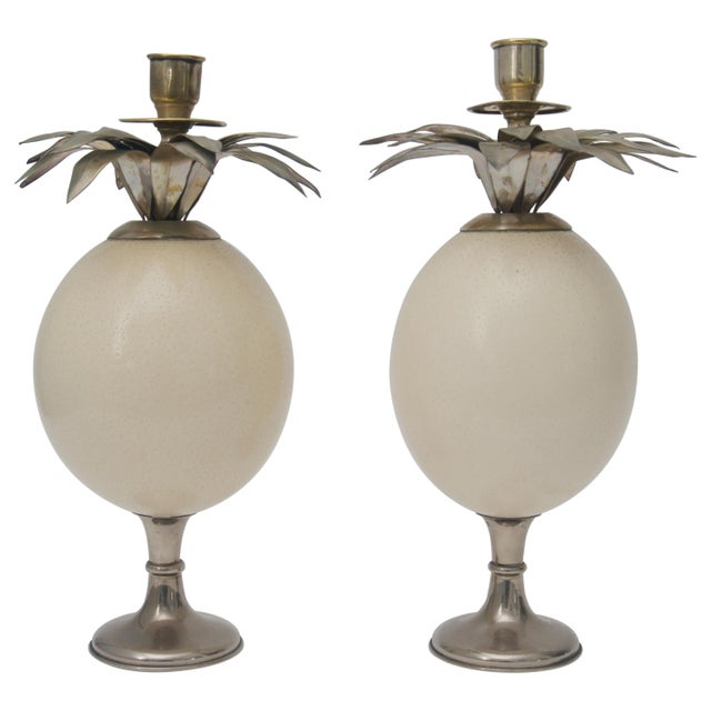 Mid 20th Century Ostrich Egg Candleholders - a Pair For Sale - Image 5 of 5