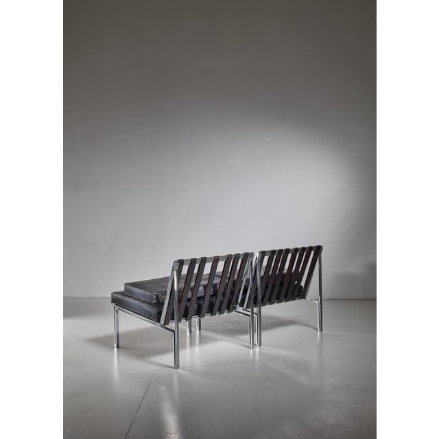 Kurt Thut Pair of Kurt Thut Side Chairs with Black Leather Tufted Cushions For Sale - Image 4 of 5