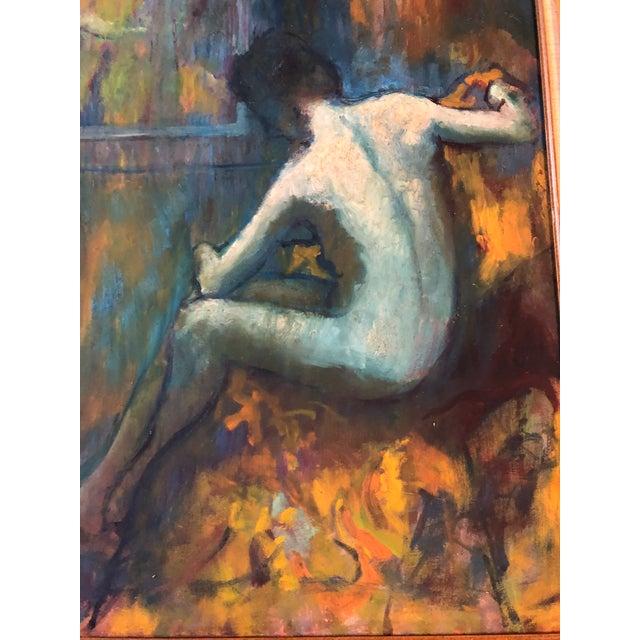 Original Vintage Impressionist Female Nude Interior Painting Large Framed For Sale - Image 4 of 9