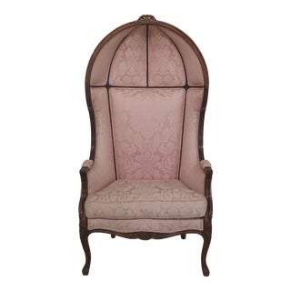 French Louis XV Style Hooded Porter Chair in Damask Upholstery For Sale