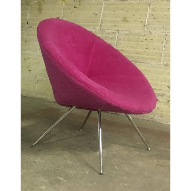 Danish Pair of flying saucer shaped newly covered in pink wool faux fur.