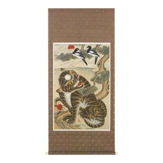 Korean Jakhodo Minhwa Folk Scroll Painting For Sale