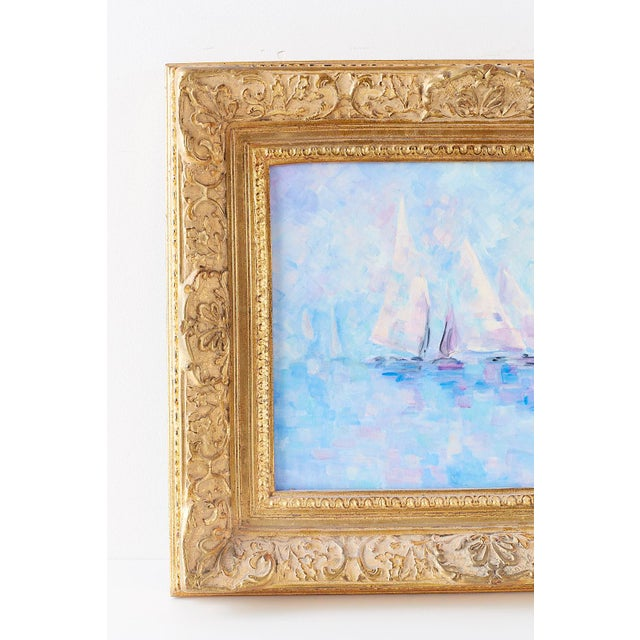 Abstract Expressionism Midcentury Oil on Canvas Painting of Sailboats For Sale - Image 3 of 13