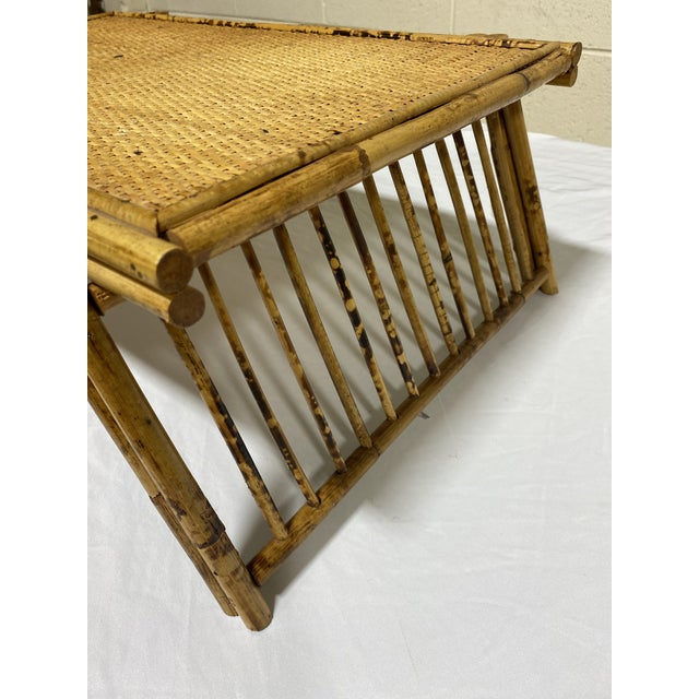 """Brown Vintage Burnt Bamboo """"Breakfast"""" Tray Stand For Sale - Image 8 of 12"""