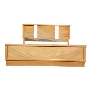 Vintage 1950's Mid Century Modern Art Deco style Double Full Bed Frame For Sale
