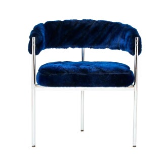 Chrome Base Chair with Blue Faux-Fur Upholstery For Sale