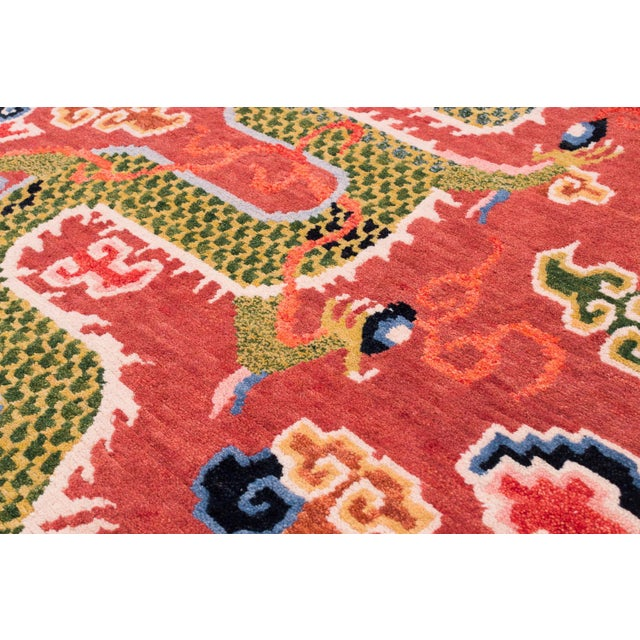 Salmon Pink, Red, Green, and Blue Wool Tibetan Dragon Area Rug For Sale - Image 4 of 8