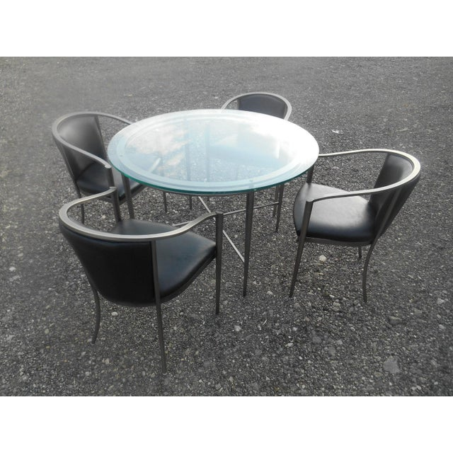 Modern 1970s Modern Design Institute America Nickel Dining Set - 5 Pieces For Sale - Image 3 of 8