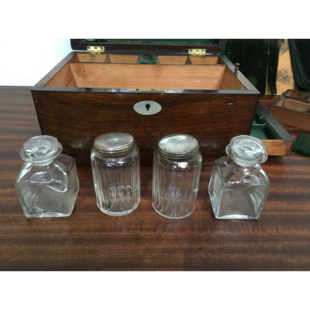 Wood Victorian Gentleman's Traveling Dressing Table Set For Sale - Image 7 of 10