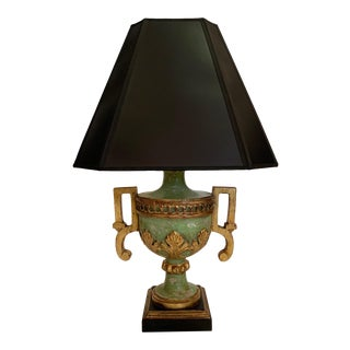 Neoclassical Style Green and Gilt Table Lamp For Sale