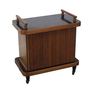 Mid-Century Tambour Door Rolling Server Bar Cart For Sale