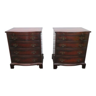 Mahogany Large Pair of Large Nightstands Side End Tables Small Dressers For Sale
