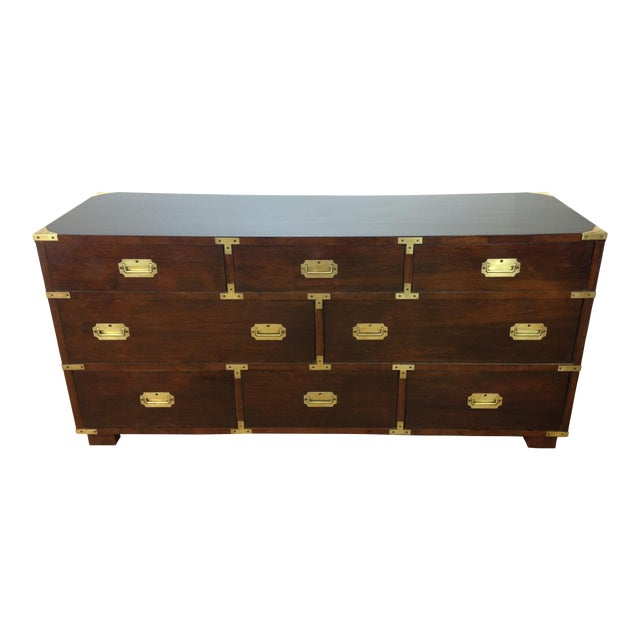 Campaign Style Large Mahogany Chest - Image 1 of 6