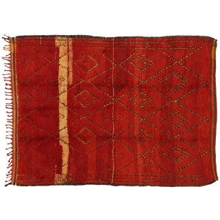 1960s Vintage Berber Red Beni M'Guild Moroccan Rug - 5′9″ × 7′8″ For Sale