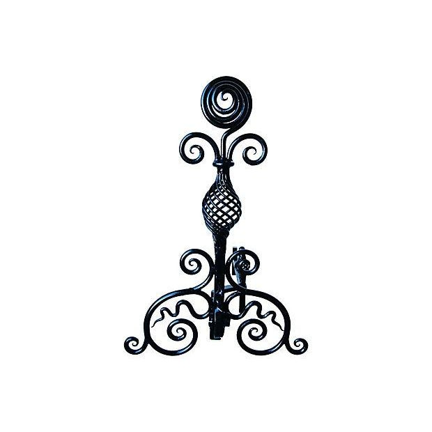 Hand-Forged 1930s Fireplace Andirons - A Pair - Image 4 of 7