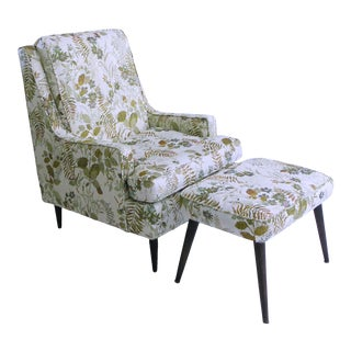 Mid Century Modern Lounge Chair & Ottoman For Sale