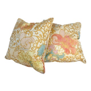 Barbara Beckmann Hand-Printed Silk Pillows, Pairs Available For Sale
