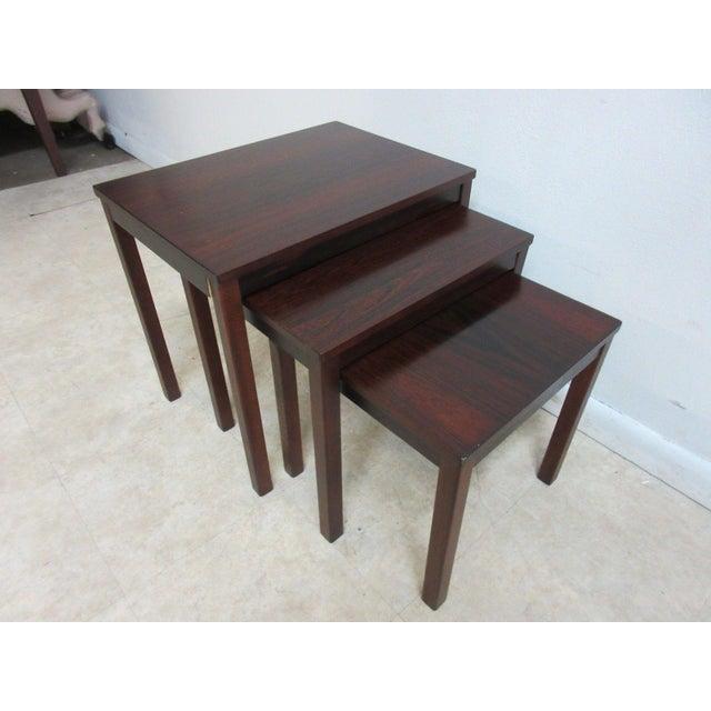 Danish Modern Vintage Danish Modern Rosewood Nesting Tables - Set of 3 For Sale - Image 3 of 9