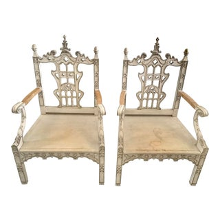 1990s Vintage Mark Hampton Designed Large Carved Continental Arm Chairs - a Pair For Sale