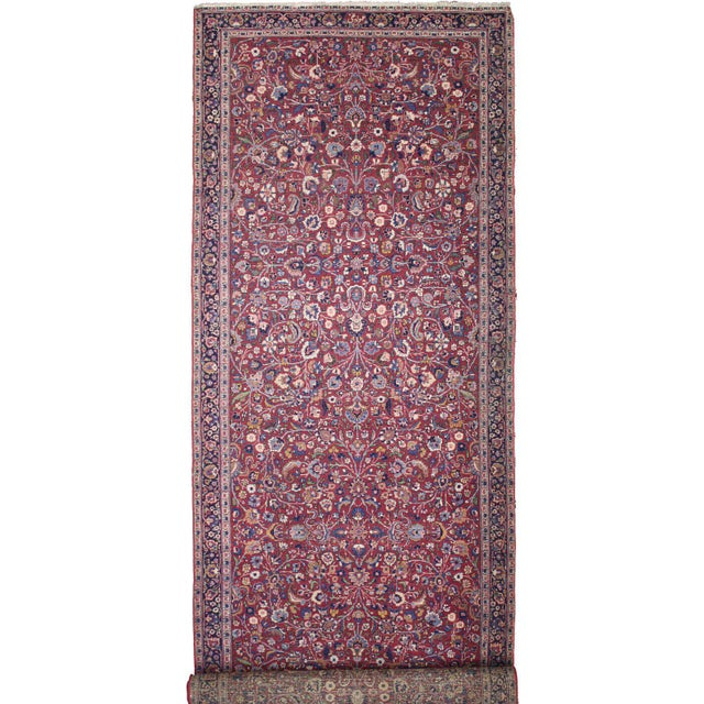 Blue Antique Persian Mashad Extra Long Hallway Runner- 5'7 X 22'00 For Sale - Image 8 of 9