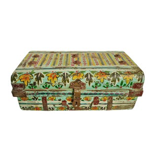 Vintage Painted Iron Suitcase For Sale