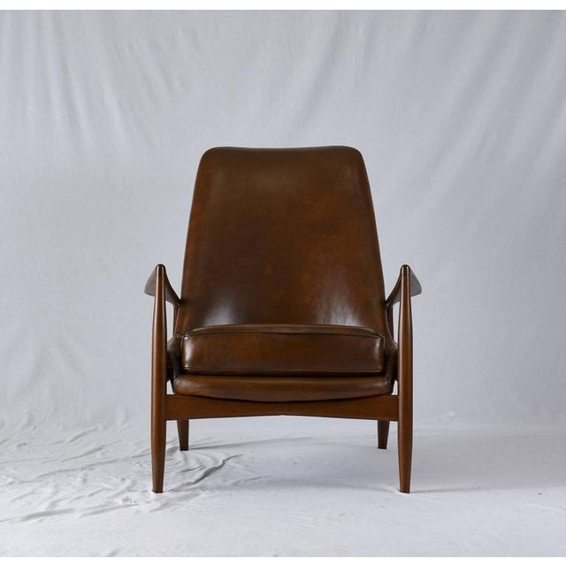 """Ib Kofod-Larsen high back """"Seal"""" chair designed in 1956 and produced by OPE."""