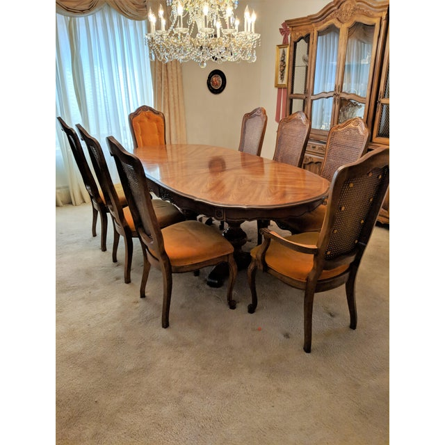 Vintage 11-piece Hibriten dining room set in excellent original condition. Comes with 8 cane back chairs - 6 side chairs...
