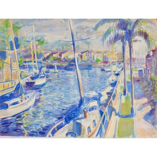 """Harbor at Long Beach, California"" Original Watercolor Painting by Humbert Curcuru For Sale"