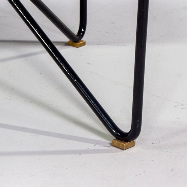 Italian Mid-Century Style Bench With Black Iron Hairpin Legs For Sale - Image 9 of 13