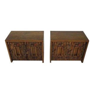 1970s Brutalist Paul Evans for Lane Bedside Tables - a Pair