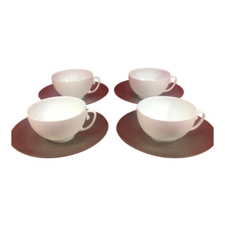 J L Coquet Platinum Hemisphere Tea Cups & Saucers - Set of 4 For Sale