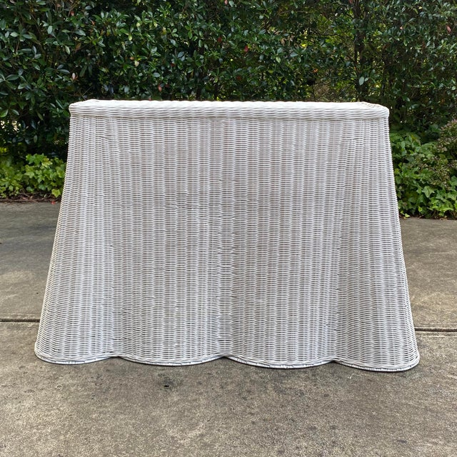 Trompe-l'Oeil Natural Rattan Console Table For Sale - Image 12 of 12