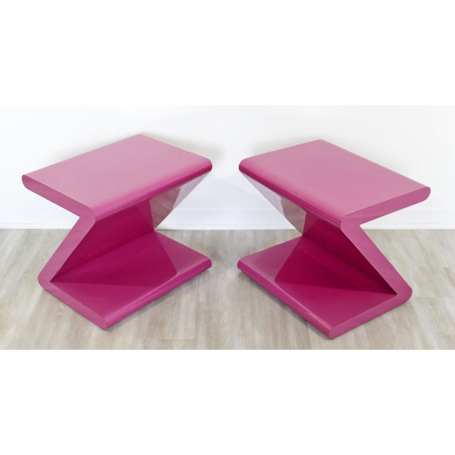 Pink Contemporary Modern of Acrylic Z Shaped Side End Tables 1980s Pink - a Pair For Sale - Image 8 of 11
