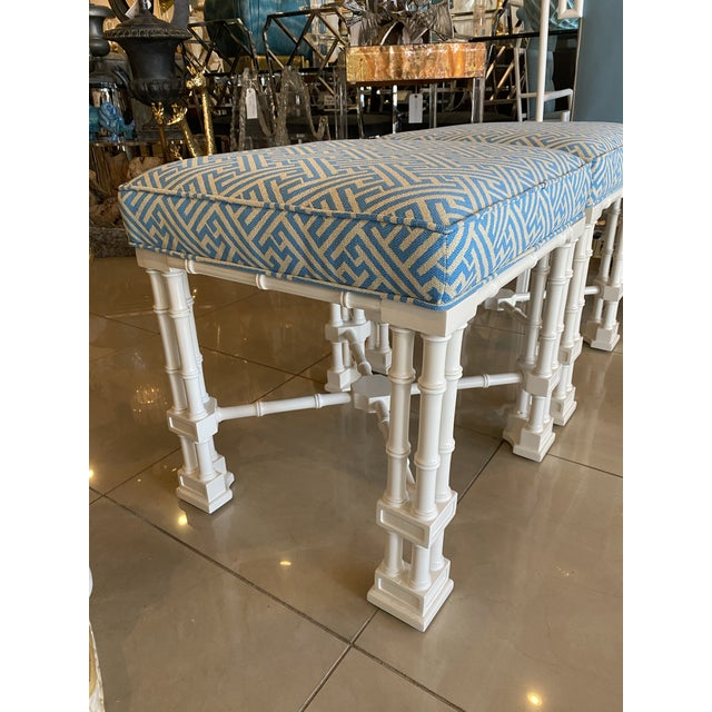 Vintage Palm Beach Faux Bamboo Blue & White Lacquered Greek Key Upholstered Benches Stools -A Pair For Sale - Image 11 of 13