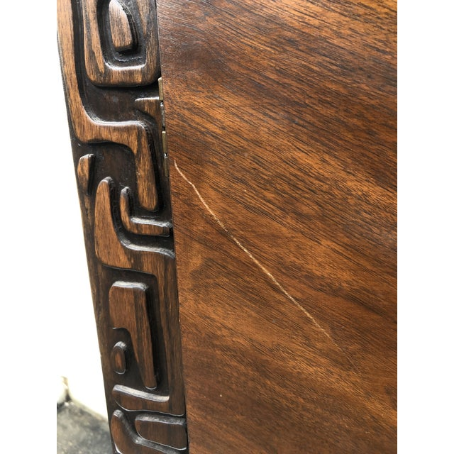 Sculpting Tall Mid-Century Witco Style Armoire by United Furniture For Sale - Image 7 of 13