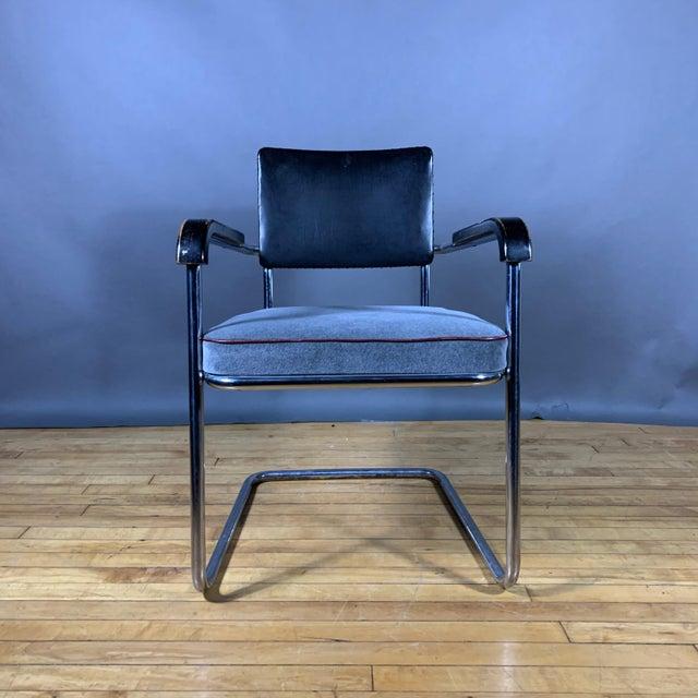 Wood C1940 Tubular Chrome Cantilever Armchair, Velvet Seat For Sale - Image 7 of 9