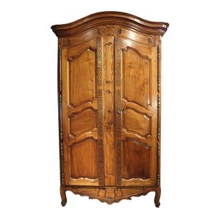 Antique Walnut Wood Armoire From Fourques, France Circa 1820 For Sale