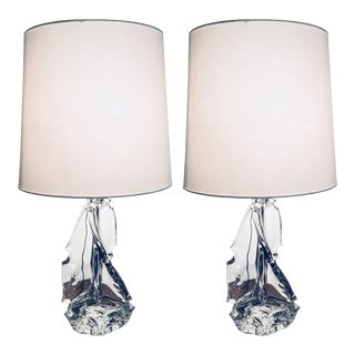 1960s Schneider Crystal France Table Lamps - a Pair For Sale