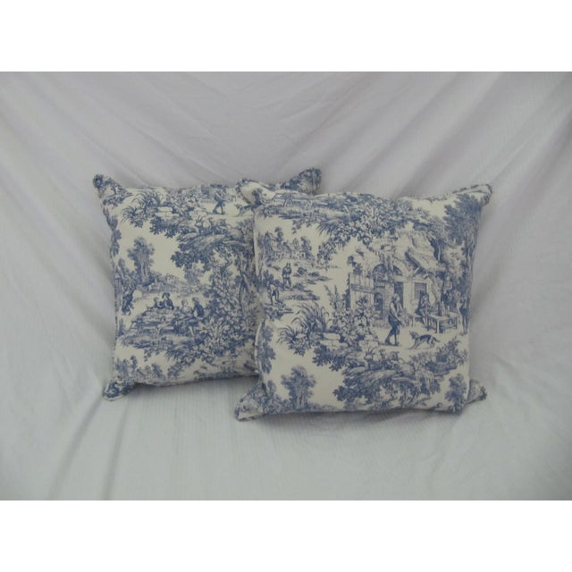 Blue & White Toile De Jouy Pillows - A Pair - Image 9 of 9