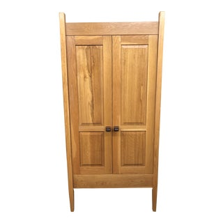 Transitional Oak Armoire For Sale