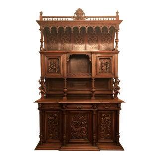 """Antique French Walnut 19th Century Renaissance Chateau """"Vaisselier."""" For Sale"""