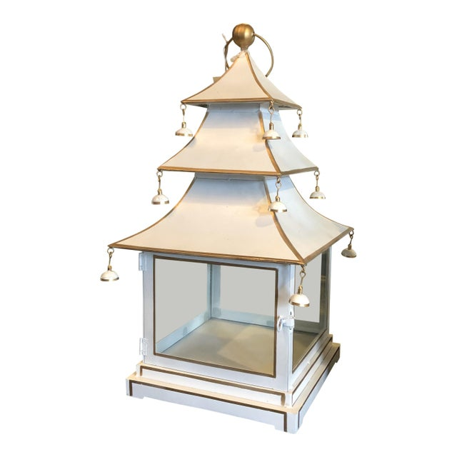 Gold Chinoiserie Metal Pagoda Style Lantern For Sale - Image 8 of 8