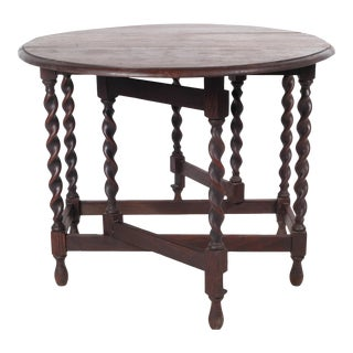 1930's Jacobean-Style Gateleg Barley Twist Table For Sale