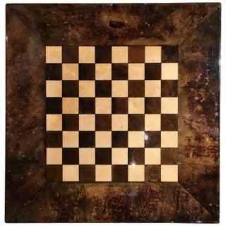 Aldo Tura Lacquered Goatskin Chessboard For Sale